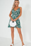 Ina Green Floral Frill Cami Dress