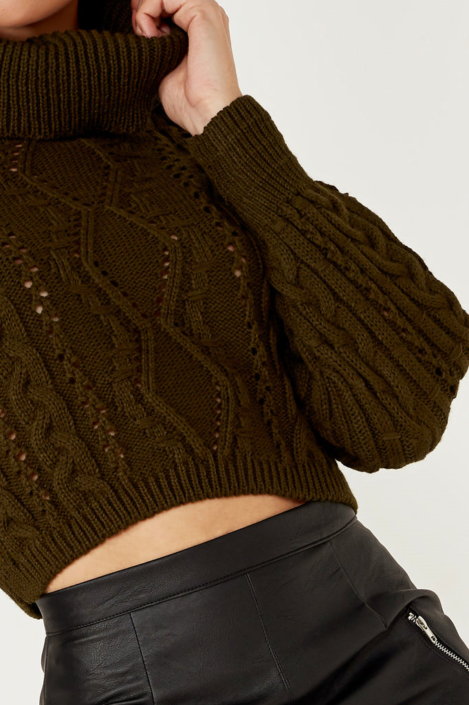 Indra Khaki Cable Knit Crop Jumper