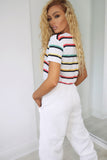 Inga White Striped Tie Crop T-Shirt