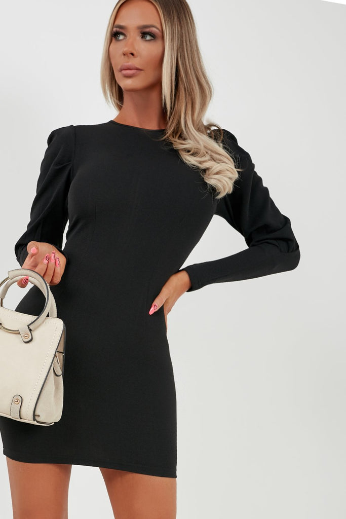Ingrid Black Long Sleeve Bodycon Dress (2032895623234)