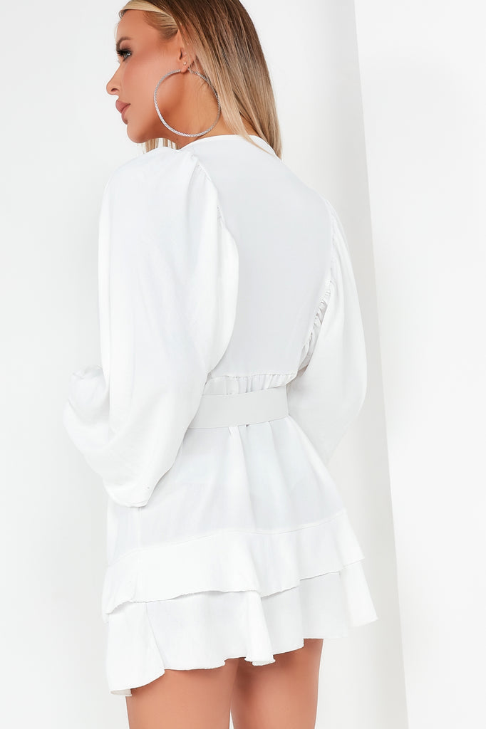 Ingrid White Longline Belted Peplum Top