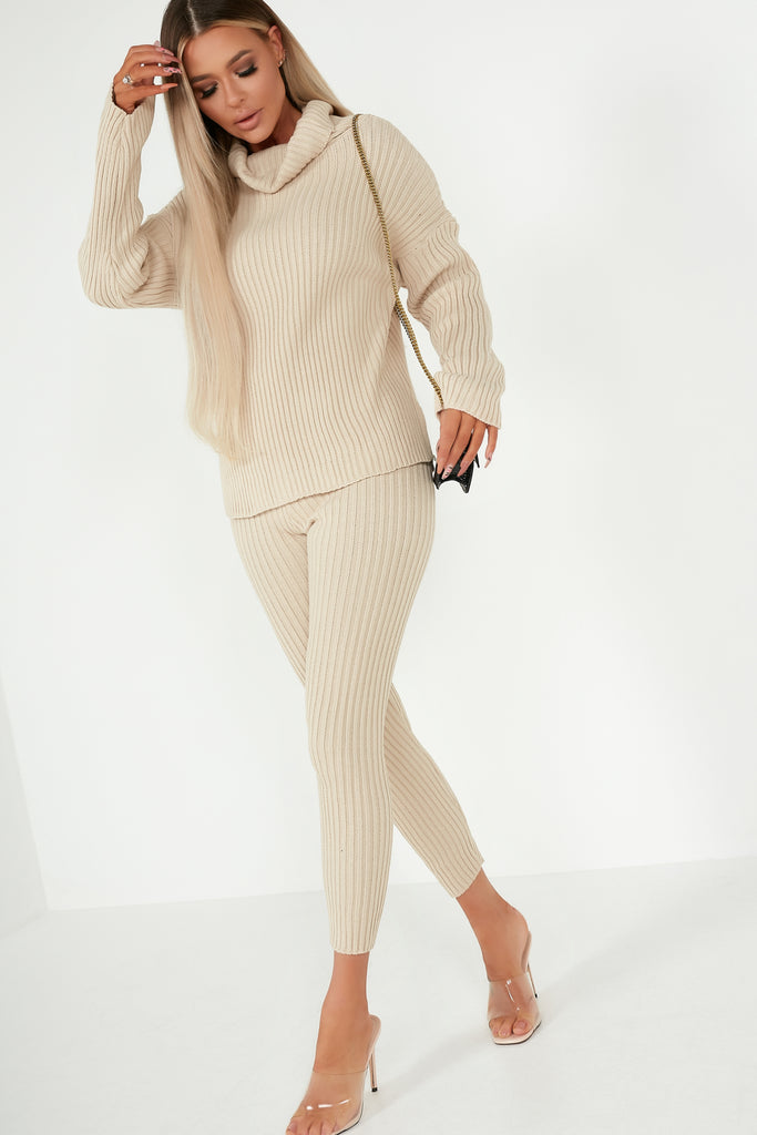 Inita Camel Ribbed Knit Trousers Co Ord