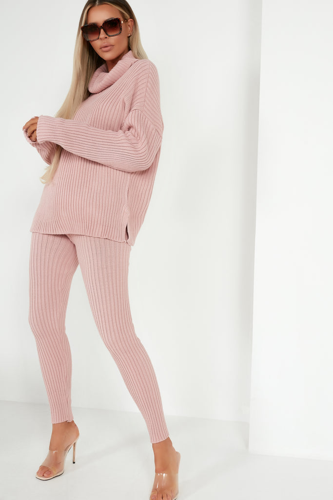 Inita Pink Ribbed Knit Trousers Co Ord