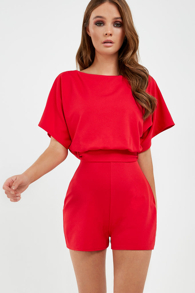 Iola Red Batwing Playsuit