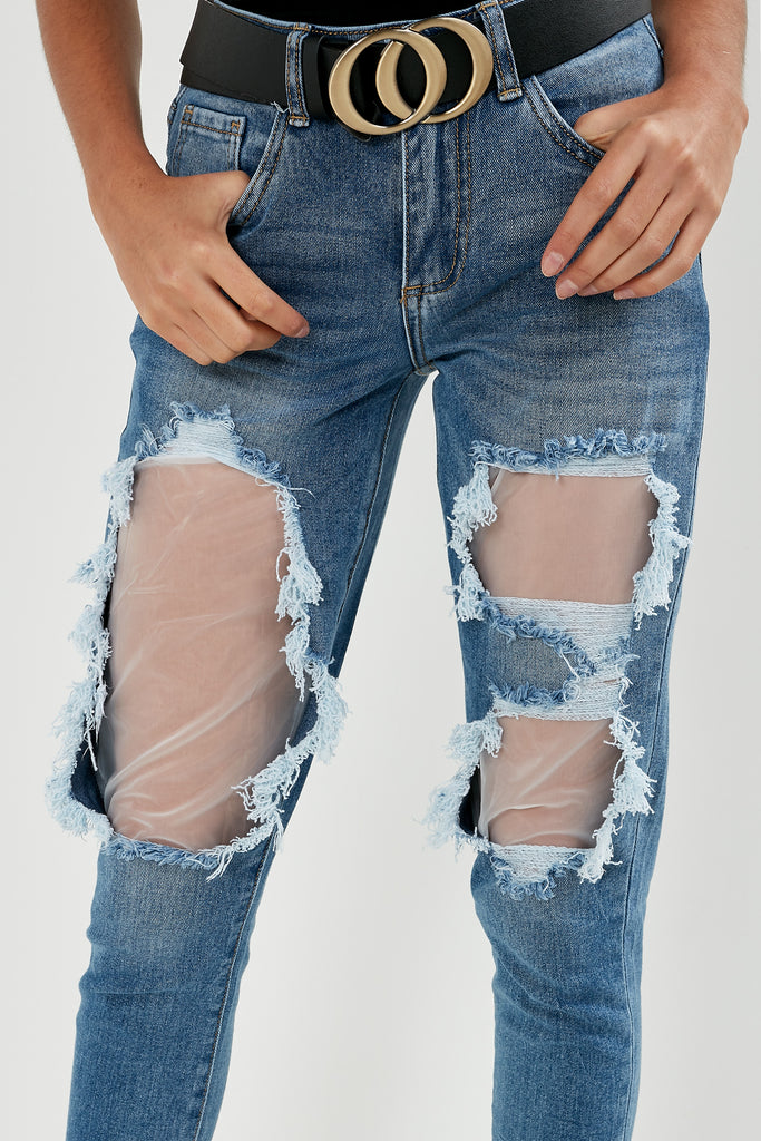 Iona Blue Denim Ripped Boyfriend Jeans