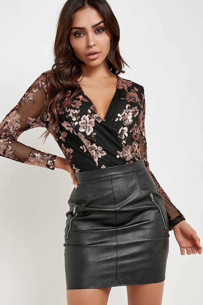 Isabella Rose Gold and Black Floral Sequin Mesh Bodysuit