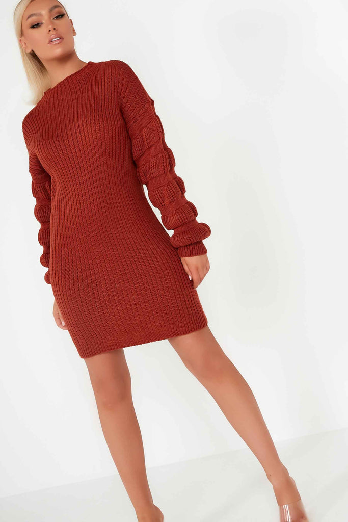 Isabelle Rust Bobble Sleeve Jumper Dress
