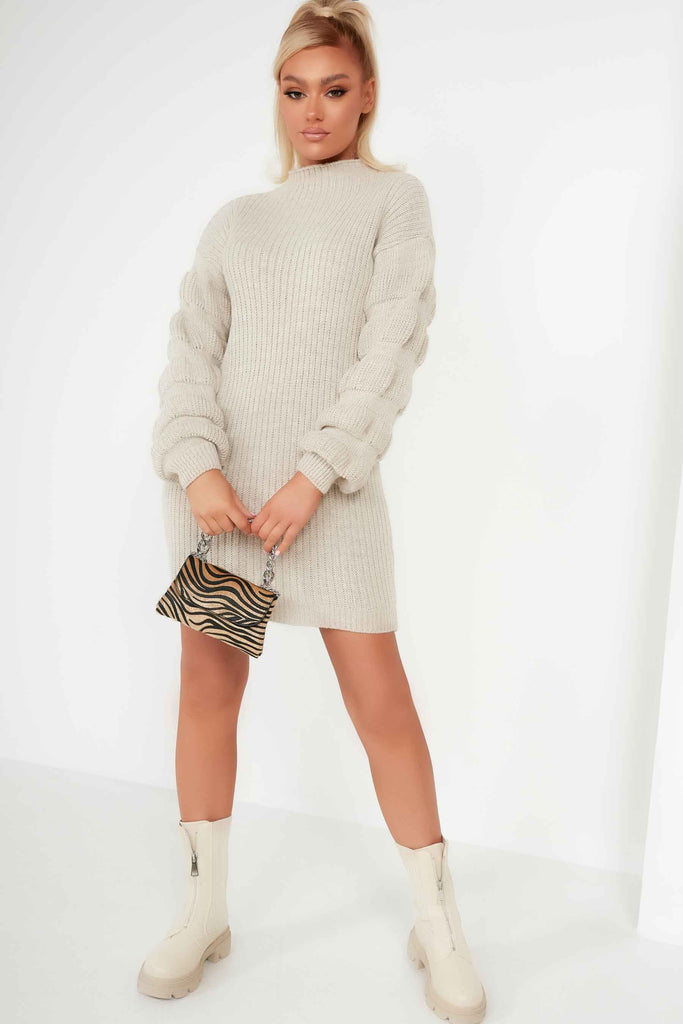 Isabelle Stone Bobble Sleeve Jumper Dress