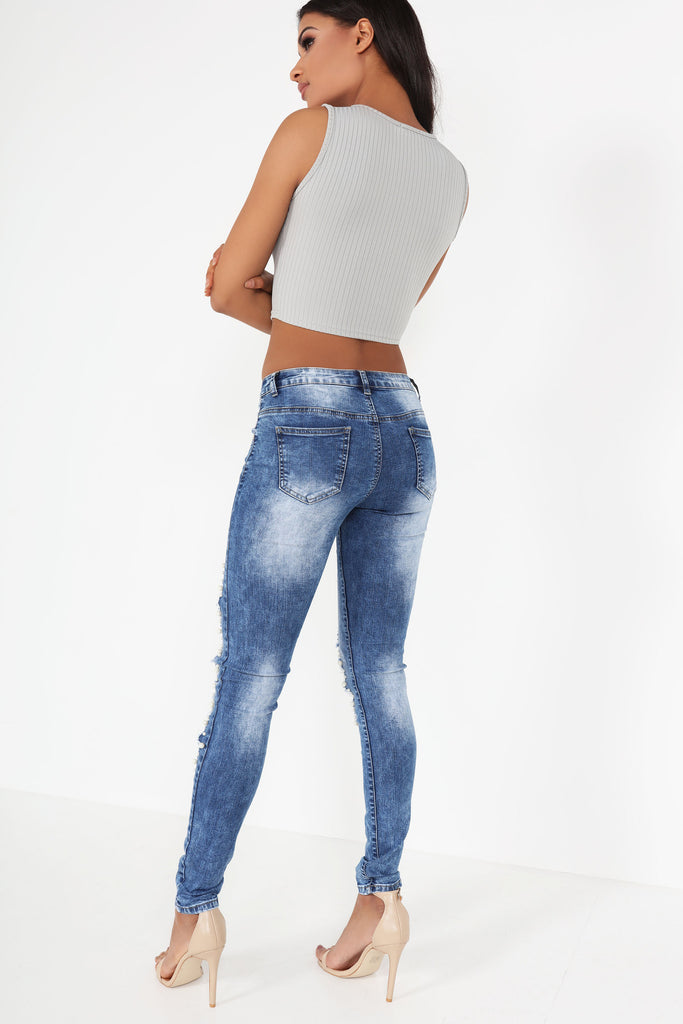 Issey Grey Ribbed Crop Top
