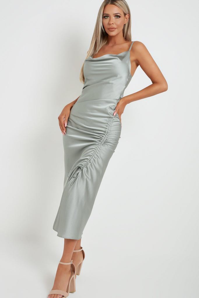 Ivy Sage Green Satin Ruched Dress