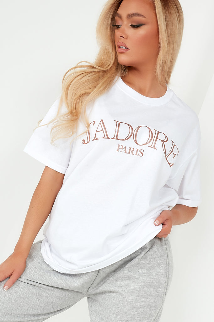 "Ivy White ""J'adore"" Oversized T Shirt"