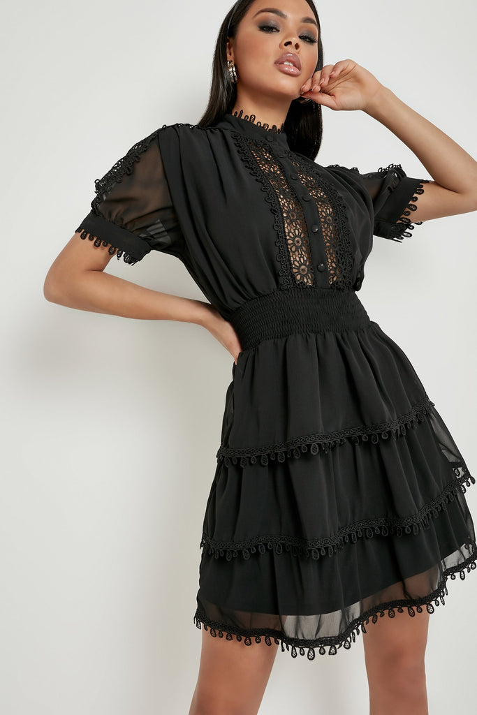 Izzy Black Crochet Detail Tiered Dress