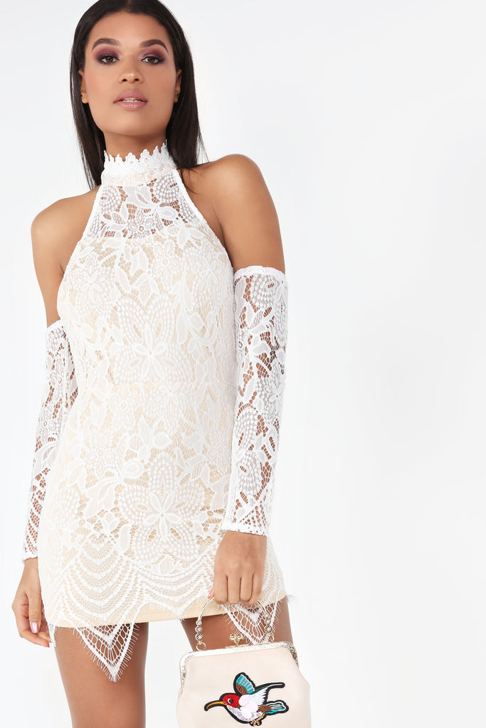 Izzy White And Nude Lace Dress