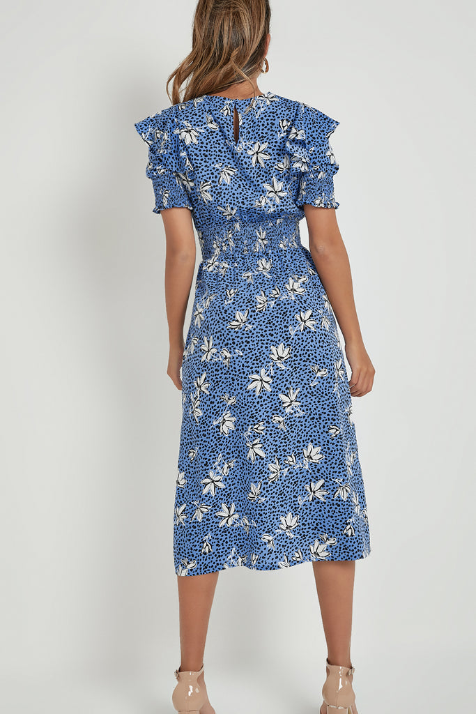 Jacinda Blue Floral Midi Dress