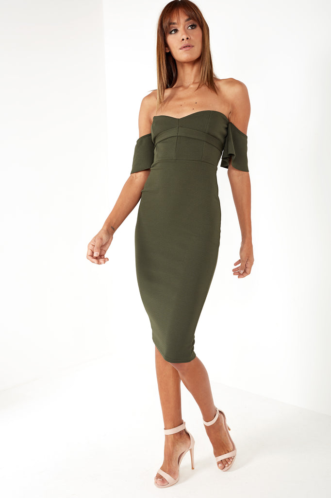 Jacinta Khaki Bardot Dress