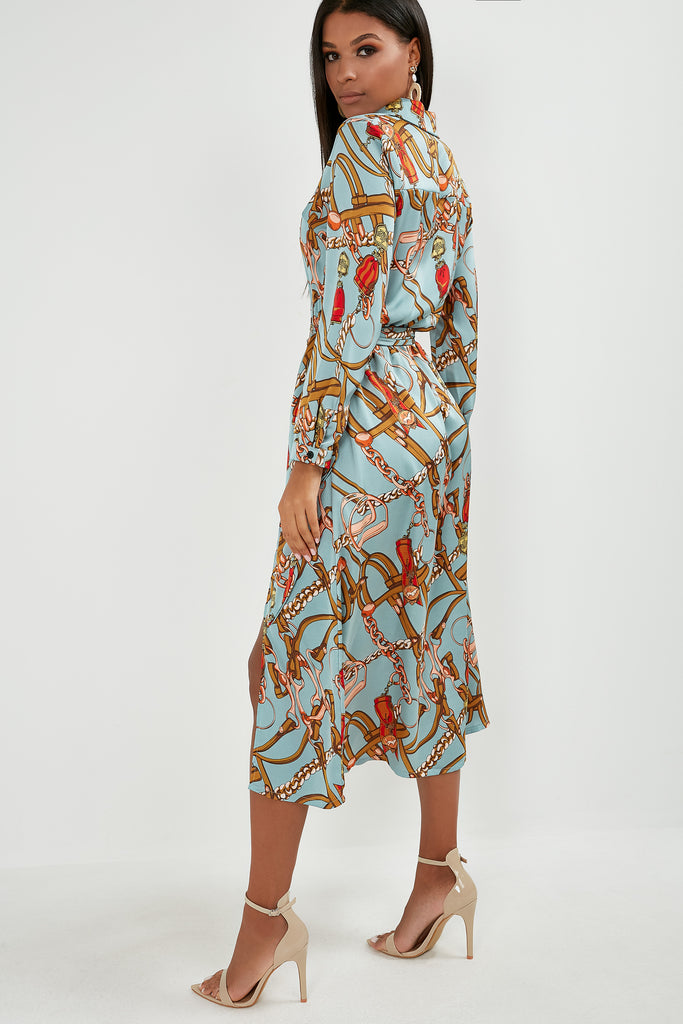 Jackie Duck Egg Chain Print Shirt Dress