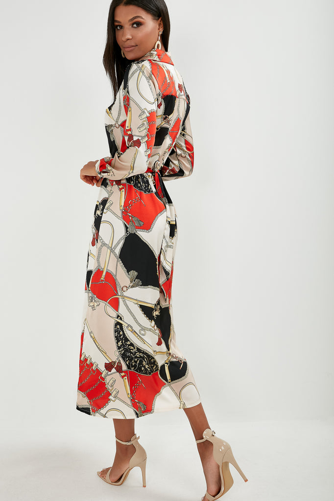 Jackie Red Chain Print Shirt Dress