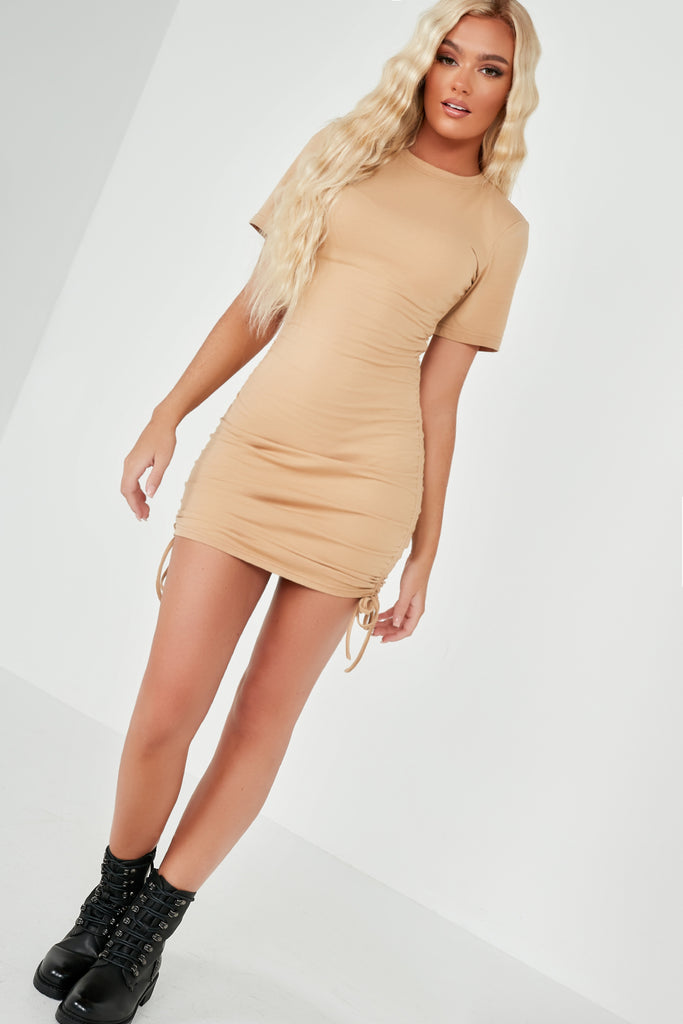 Jade Camel Ruched Side T Shirt Dress