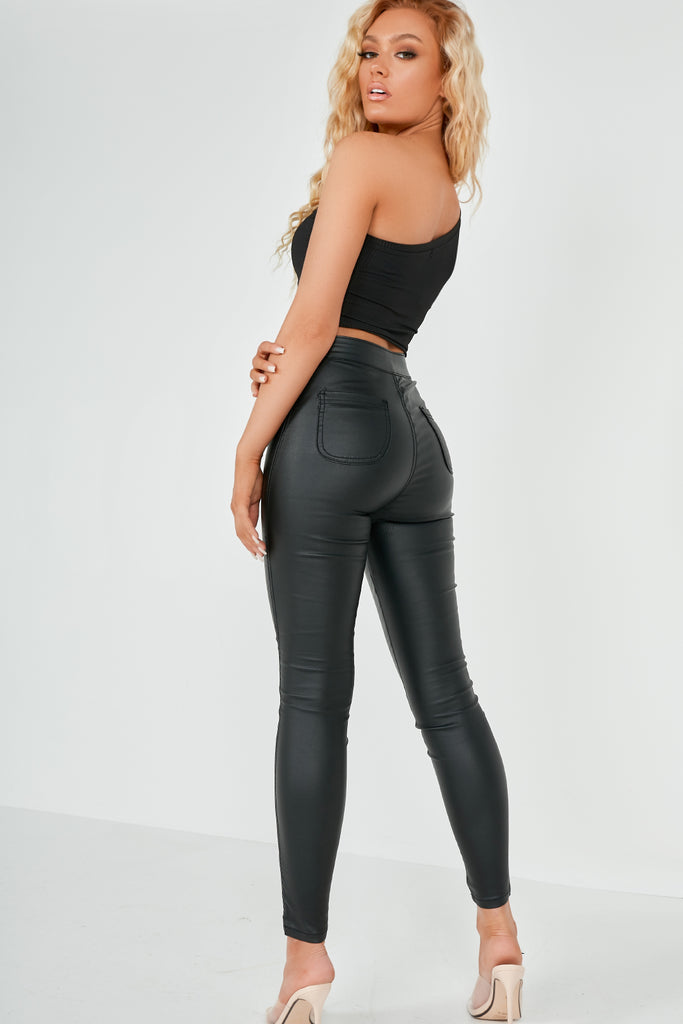 Jalis Black Wax High Waisted Trousers