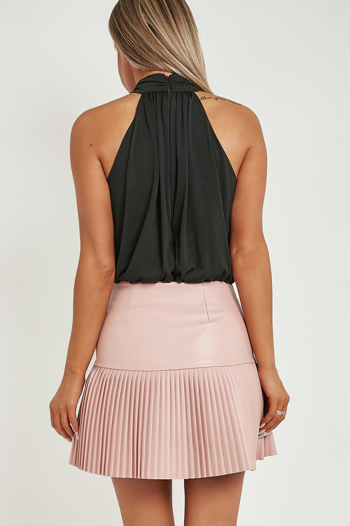 Jan Pink Leatherette Pleated Mini Skirt