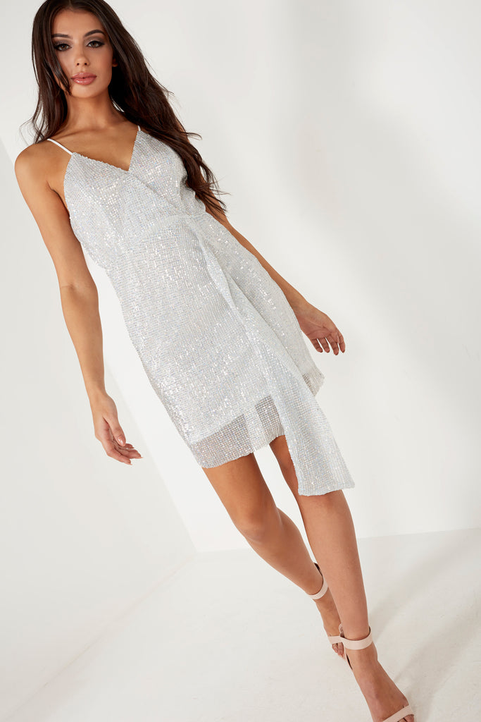 Janalee Silver Sequin Cami Dress