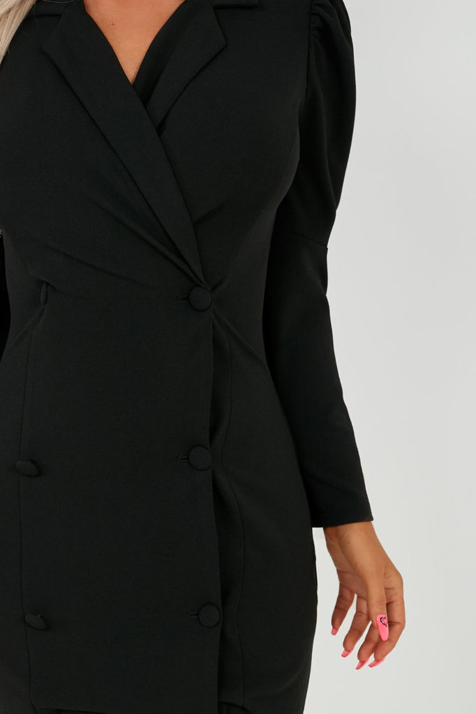 Jane Black Puff Sleeve Button Front Blazer Dress (2027908431938)
