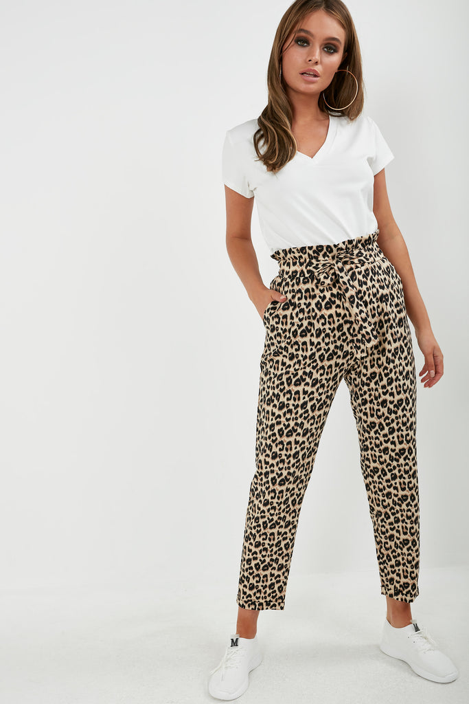 Jane Leopard Print Paperbag Trousers