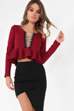 Janessa Wine Chain Front Crop Top