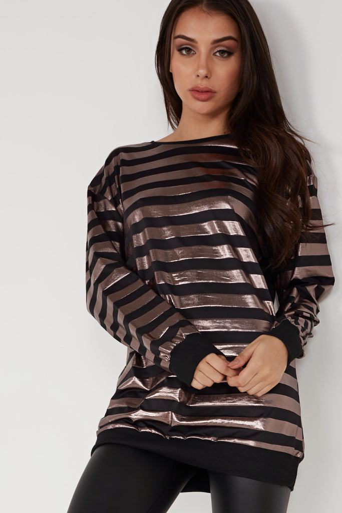 Janet Bronze and Black Striped Oversized Jumper