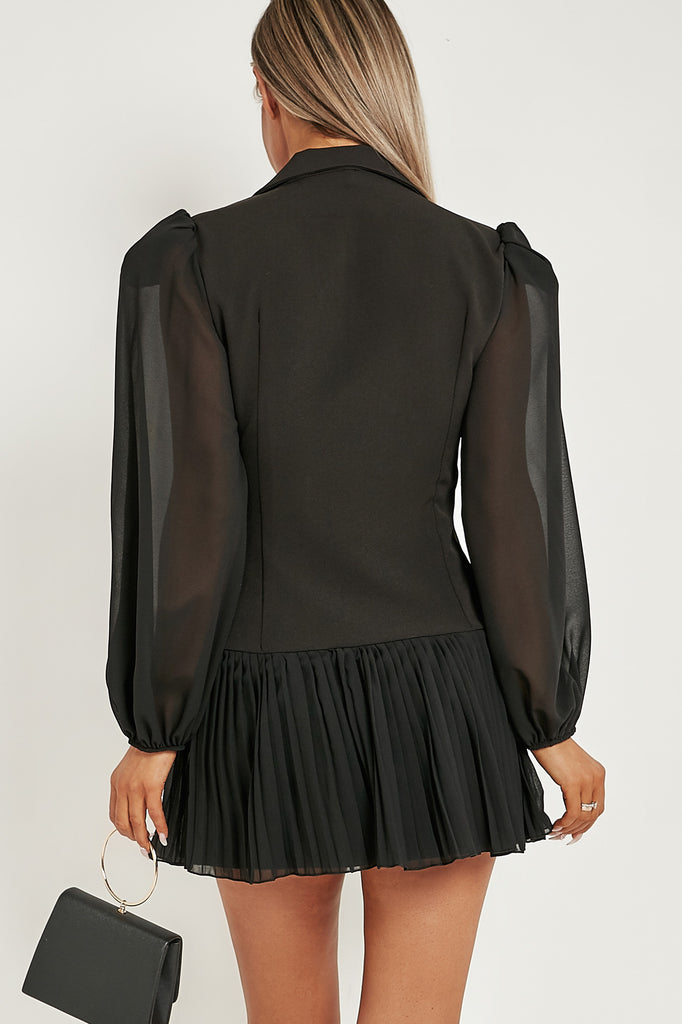 Janet Black Tuxedo Pleated Blazer Dress