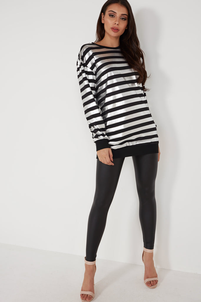 Janet Silver and Black Striped Oversized Jumper