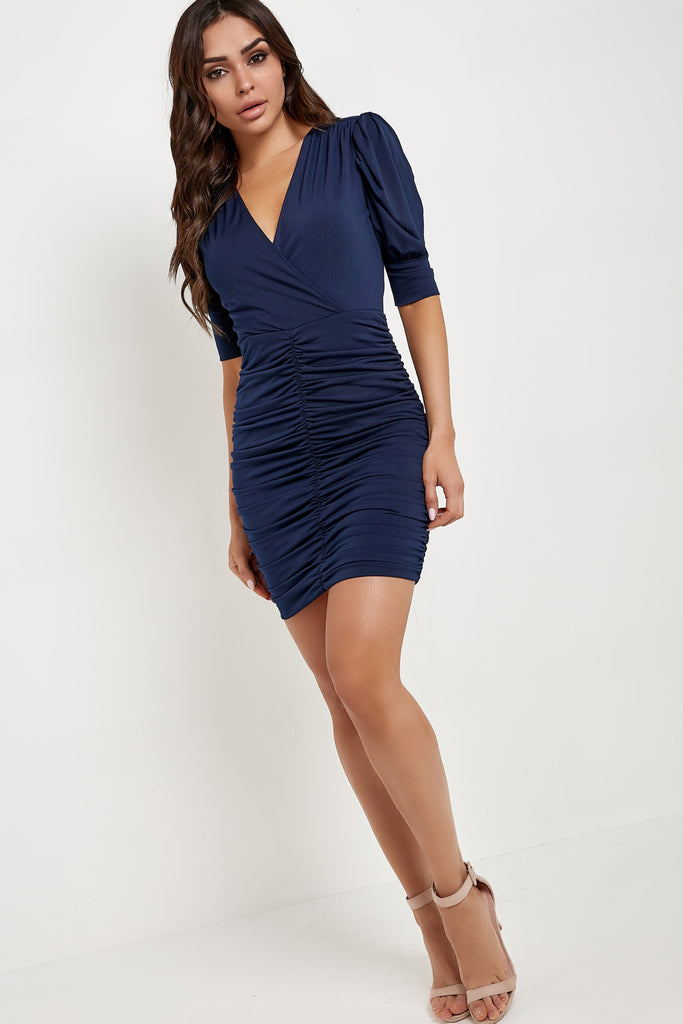 Janine Navy Ruched Cut Out Back Mini Dress