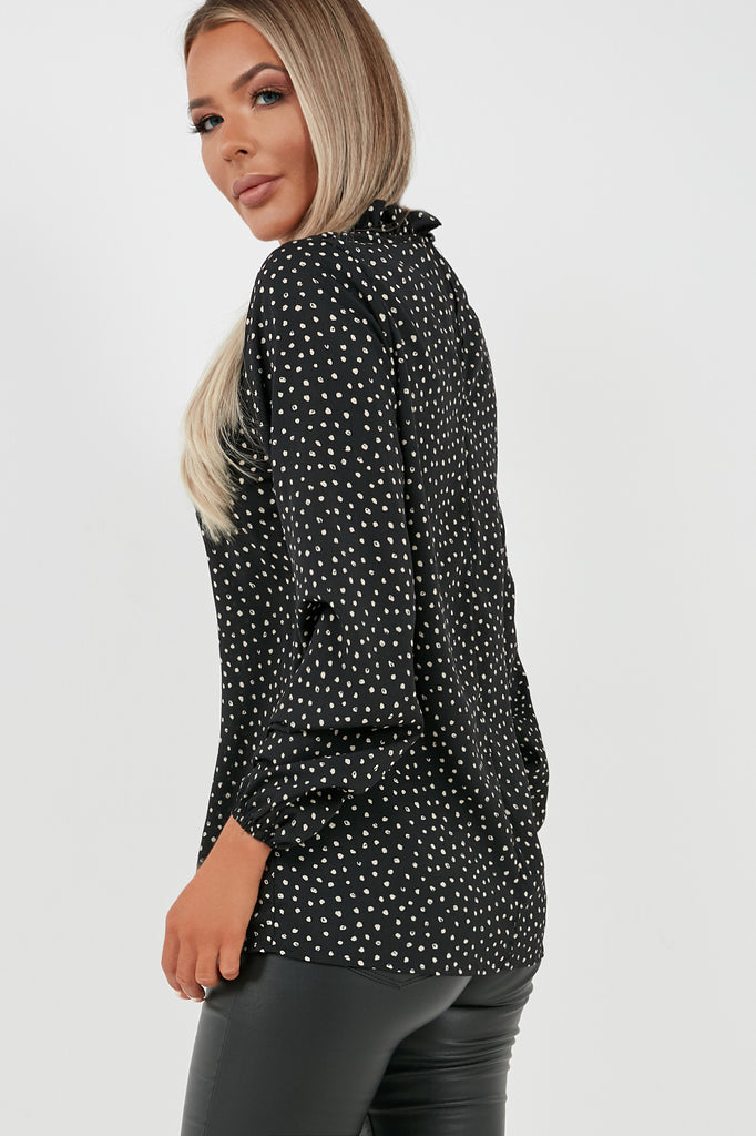 Janis Black Spotted High Neck Top