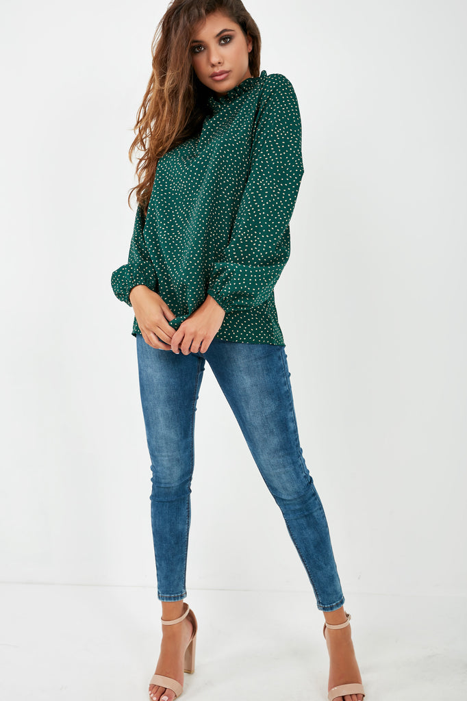 Janis Green Spotted High Neck Top