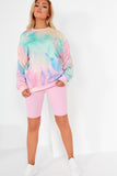 Jayda Rainbow Tie Dye Ruched Sleeve Sweater