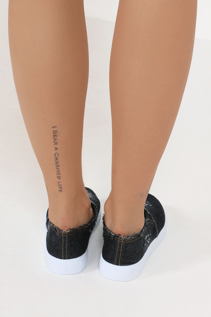 Jayla Black Denim Slip On Plimsole