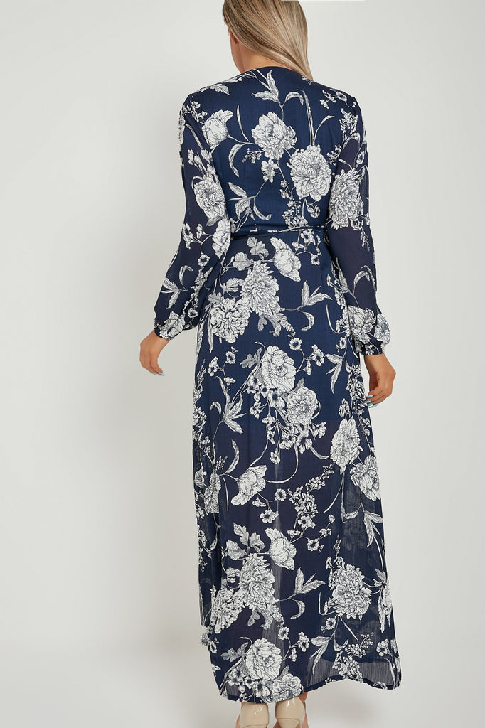 Jayla Navy Floral Wrap Maxi Dress