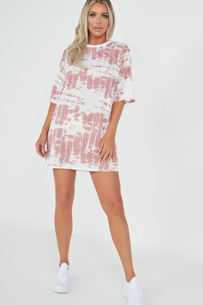 Jean Pink Tie Dye Oversized T-Shirt Dress