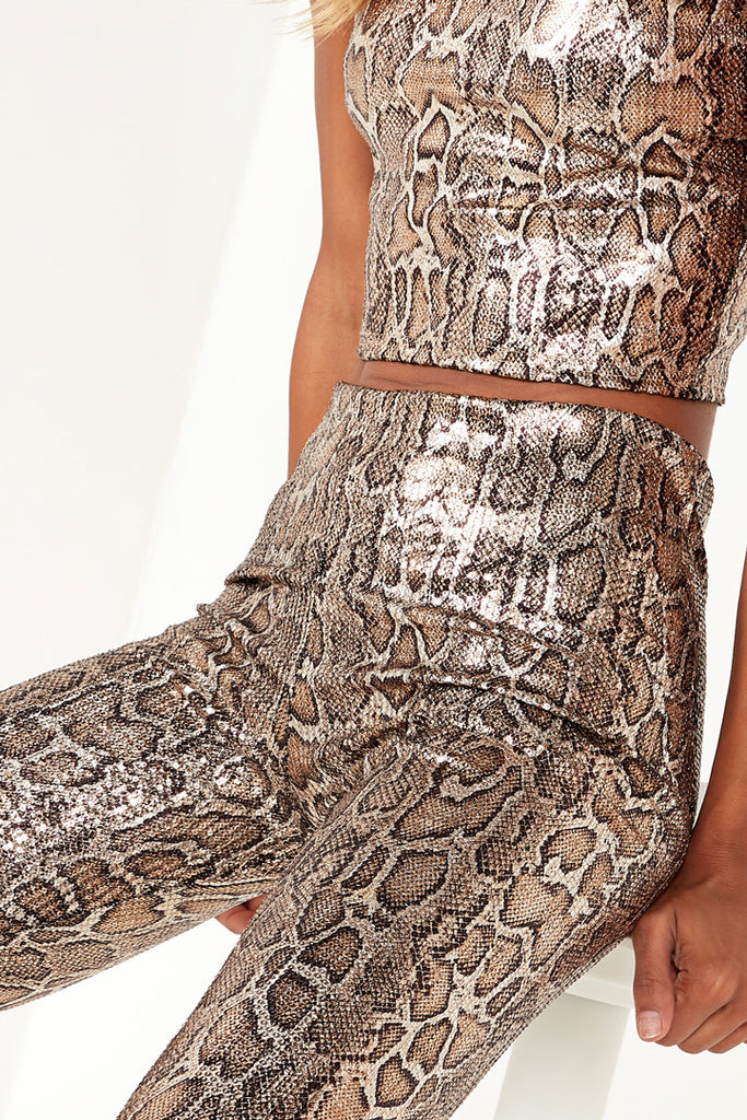 Jemi Metallic Snake Print Leggings
