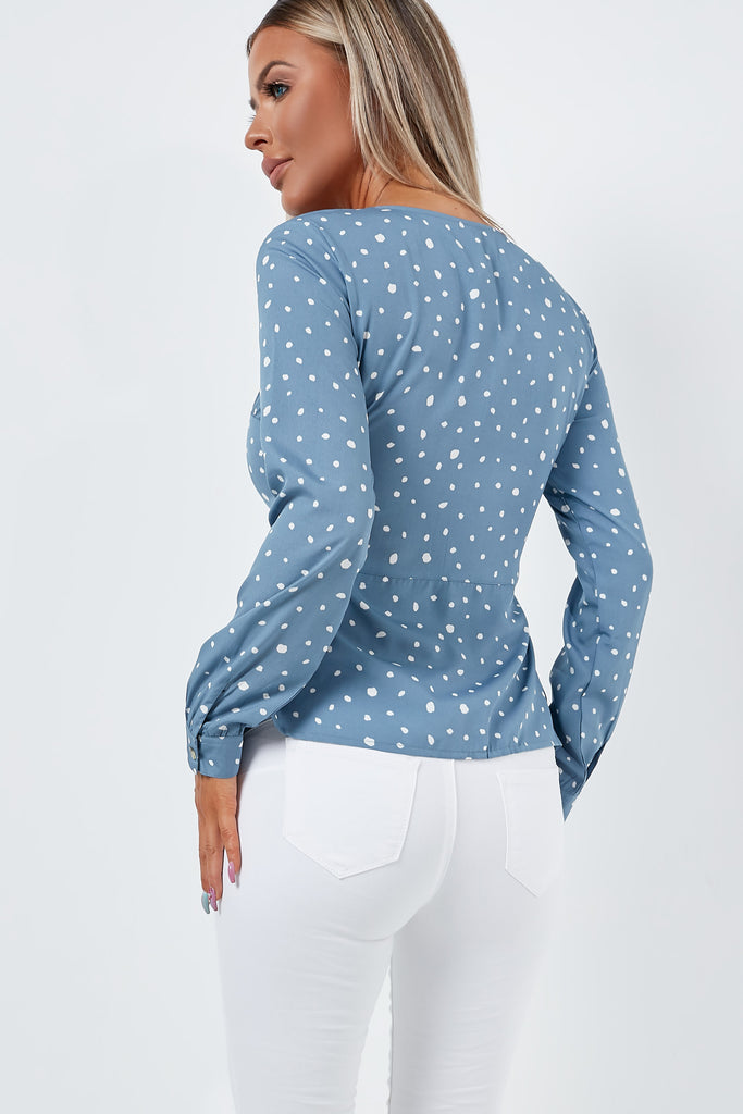 Jenia Blue Spotted Button Front Top