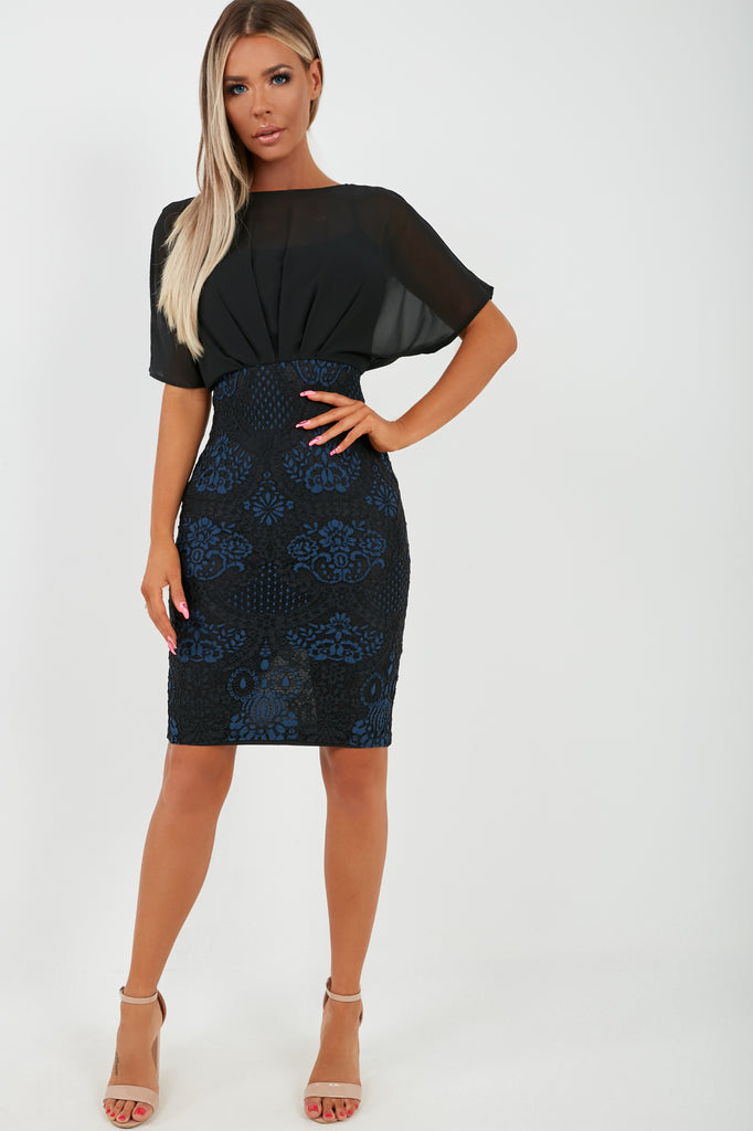 Jeorgia Black and Navy Lace Batwing Midi Dress (2031414280258)