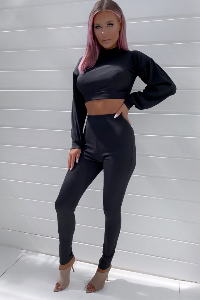 Jerri Black Ribbed Trouser Co-Ord