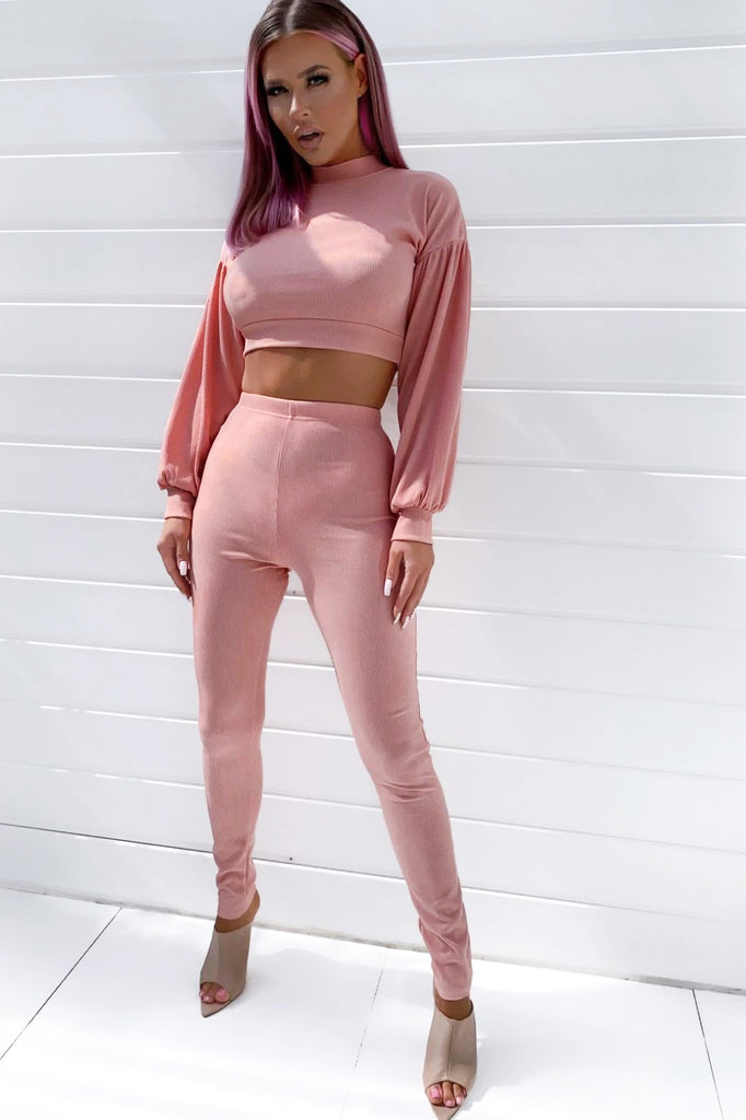 Jerri Pink Ribbed Trouser Co-Ord