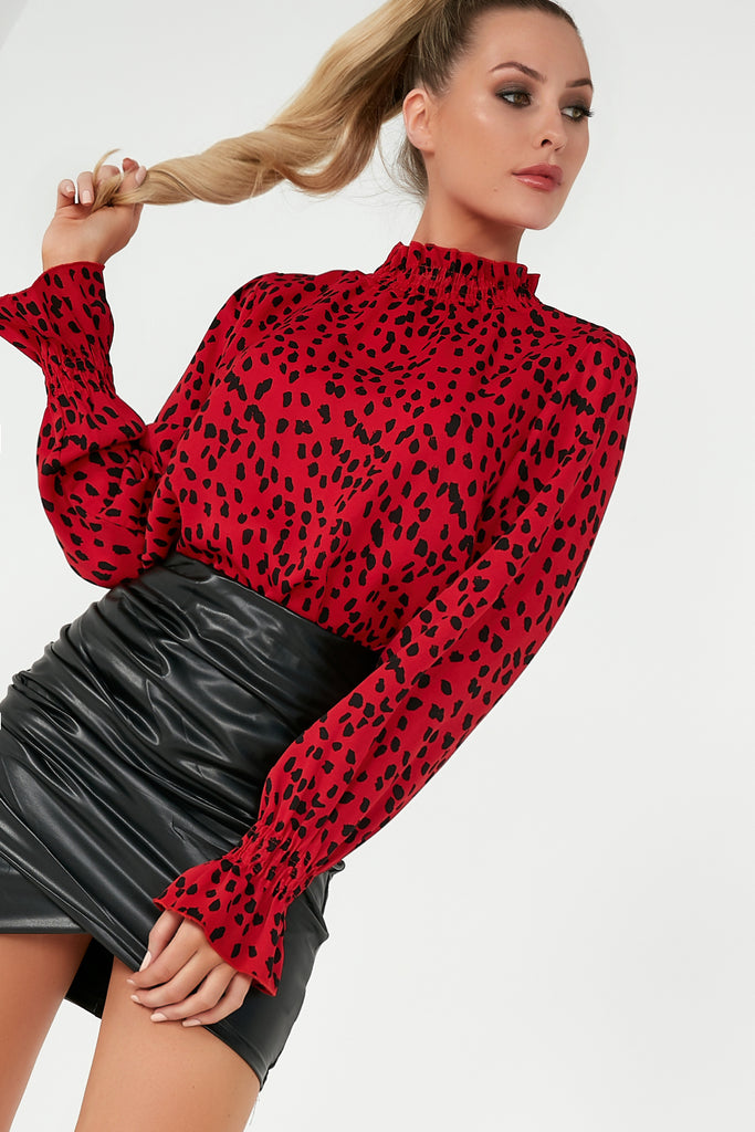Jessa Red Printed Ruffle High Neck Top