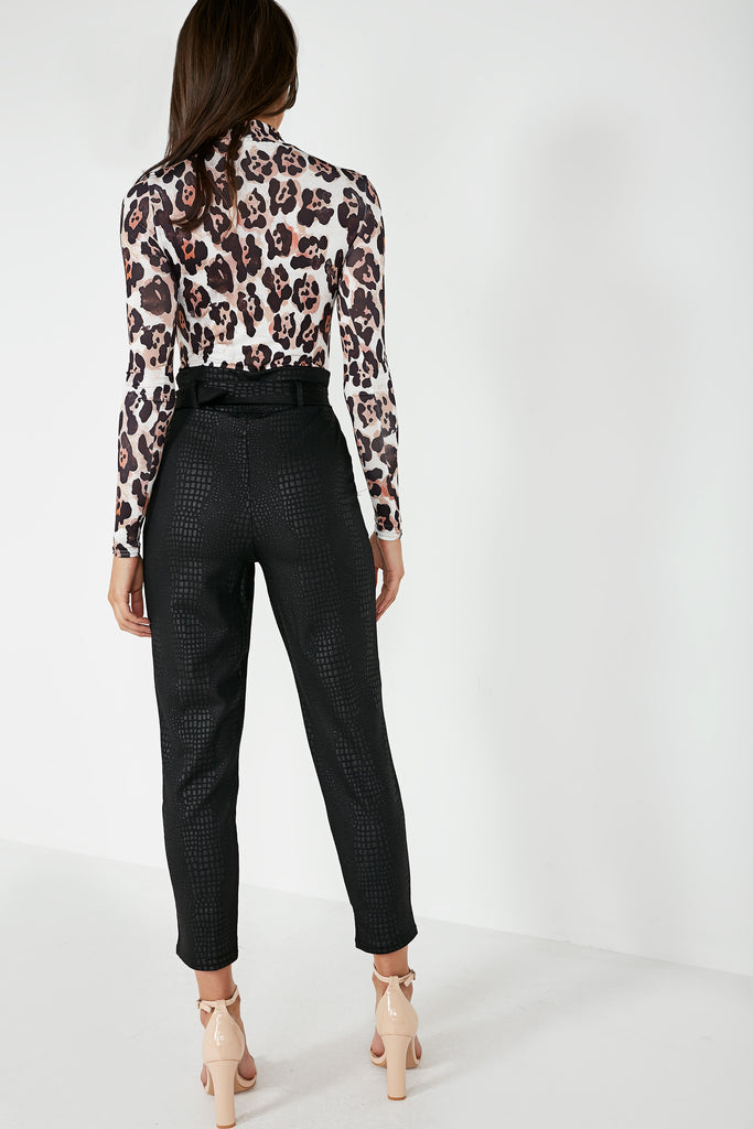 Jessie Black Croc Belted Trousers