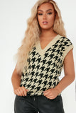 Jessie Camel Houndstooth Knit Pullover