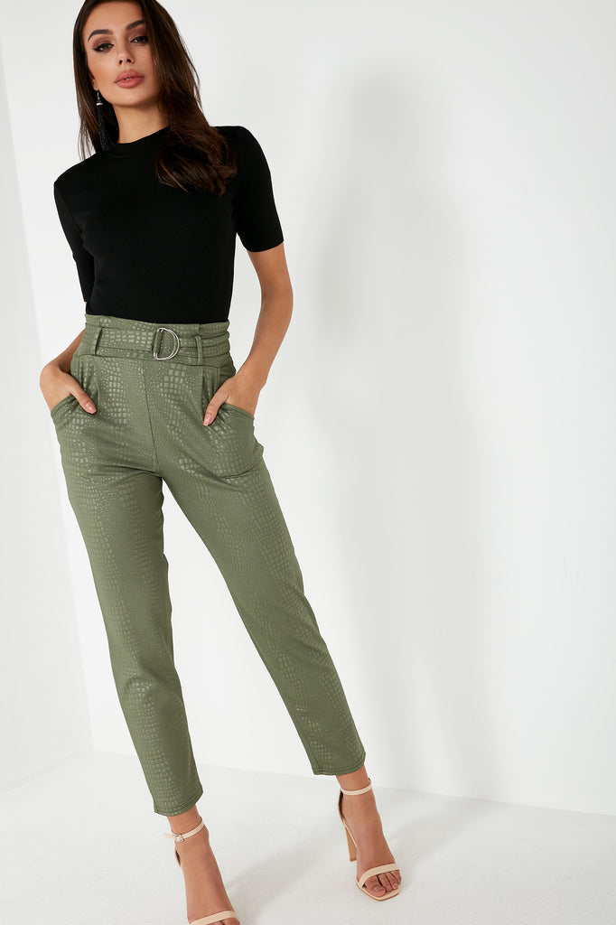 Jessie Khaki Croc Belted Trousers