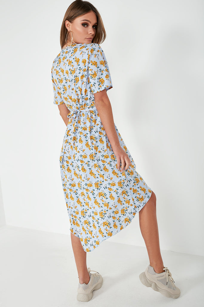 Jill Blue Floral Wrap Dress