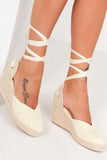 Jilly Lemon Tie Leg Espadrille Wedges