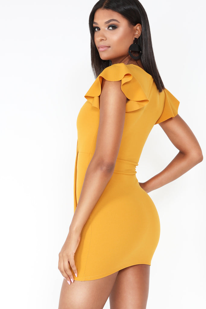 Jiselle Mustard Tie Front Mini Dress